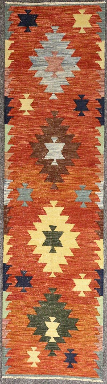 Flat Weave Tribal Design Kilim Runner 19361 Isberian